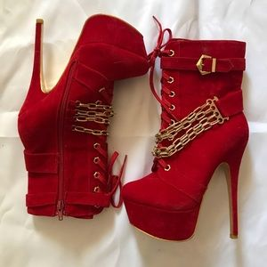 Red Velvet Lace Up Gold Chain Stiletto Boots